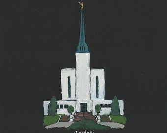 London LDS Temple acrylic painting 8x10