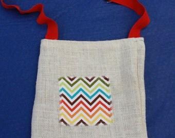 Kids Natural Hessian Shoulder Bag with Multicoloured Chevron Zig Zag Decorative Fabric