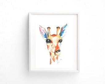 Framed Giraffe Watercolour Print