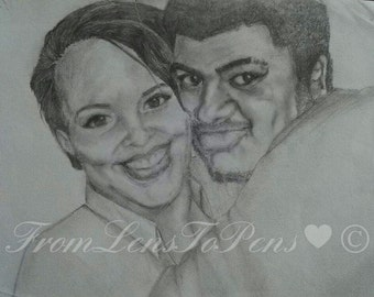 Couples portrait - Two subjects- from photo - Head and shoulders - Graphite sketch - hand drawn - couples gifts - girlfriend - boyfriend