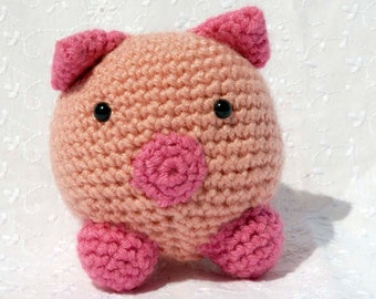 Crochet Peggy Pig, Amigurumi Stuffed Animal, Hand Made Soft Toy, Pink Pig with Snap On Safety Eyes
