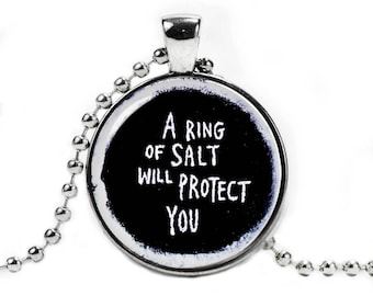 Supernatural Necklace Ring of Salt will protect you Pendant Fandom Jewelry Cosplay Fangirl Fanboy