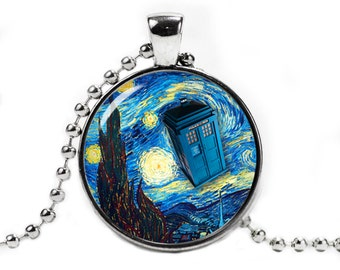 Starry Night Tardis Necklace Pendant Van Gogh Doctor Who Police Box Geeky Fangirl Fanboy