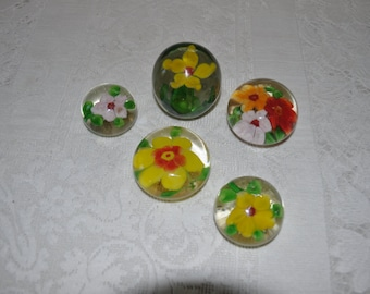 5 Art Glass Paperweights with Flowers
