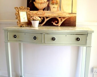 50% OFF - Large Mint Wood Console Table 2 Draws Decoupage Restaurant Cafe Shop Hall Side - Console Table with Drawers - Hall Console Table