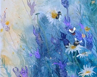 Original watercolour painting by Shari Hills. Bees and Lavender.