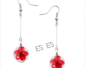 ES Nature Flower glass earrings set,  handmade, sterling pure 925 silver, gift for her