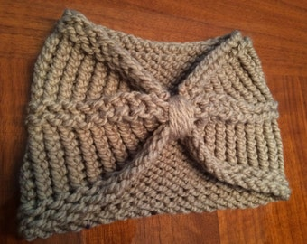 SALE! Handmade Knit Bow Headband- Loops and Threads Yarn- Color in Taupe
