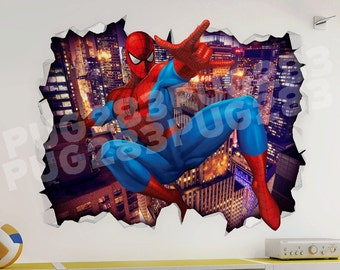 Spider Man 3D Look Wall Vinyl Sticker - Marvel Avengers Childrens Bedroom Mural