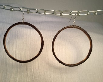 Coconut hoops with sterling silver wires