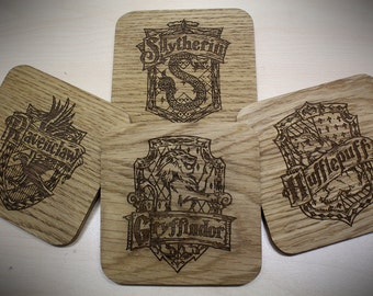 Harry Potter Hogwarts Houses Inspired Drinks Coasters - Set of Four