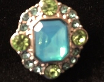 Blue / Green snap - This snap fits all 18mm - 20mm jewelry