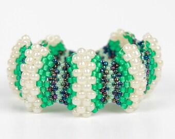 Handmade Beaded Unique Bracelet,Woven,Green,White,Black,Silver