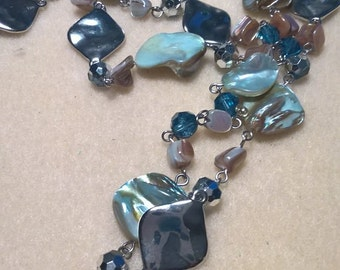 Beaded Silver and Blue chained necklace.