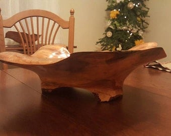 Hand Carved Cherry Bowl with Malachite Inlay