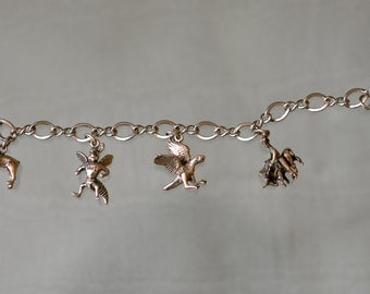 Price Reduced : Vintage Silver Charms Bracelet