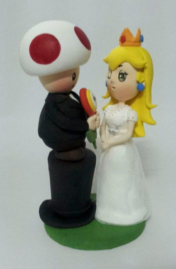 Super Mario Bros And Peach Princess Wedding Cake Topper Clay