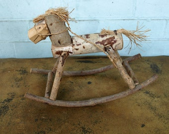 Miniature Handmade Wooden Rocking Horse in Primitive Style