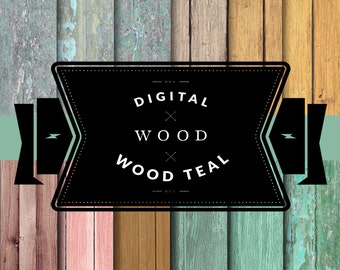 Wood Teal Digital Printable Paper