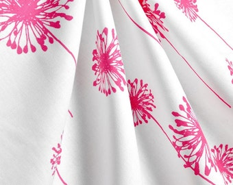 Fuchsia Pink Curtains Floral Dandelion Window Treatments Pink Nursery Decor Curtain Panels Valance Drapes