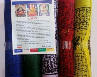 Tibetan buddhism wind horse cotton prayer flag/lungta/Wholesale pack of 5 rolls / Free Shipping