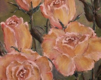 Oil painting. Yellow roses.