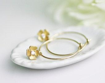 gold hoop earrings, flower earrings, flower hoop earrings, gold flower earrings