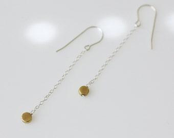 long silver earrings, long earrings, silver chain earrings, silver and gold earrings, mixed metal earrings, minimalist earrings
