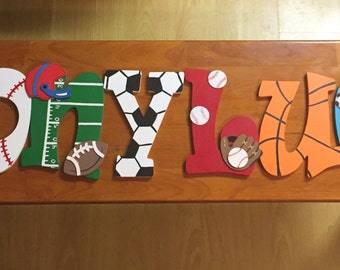 SPORTS THEMED Hand-Painted Wooden Letters for Kids Room