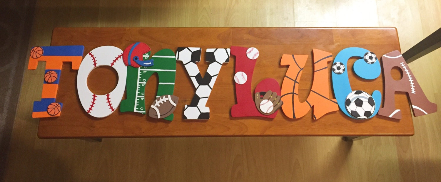 Sports theme hand painted 9 inch wooden letters for kids room for Letters for kids rooms