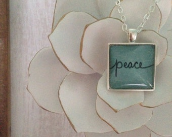 Peace // Handwritten Pendant Neckalce