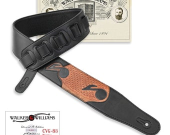 Walker & Williams Black Leather Padded Guitar Strap Tooled Music Notes CVG-83