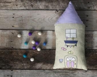 House Pillow - Decorative House Pillow - Children's House Pillow - Modern Nursery Decor - Night Pillow - Moon and Stars Pillow