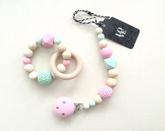 Pacifier baby crochet beaded pastel