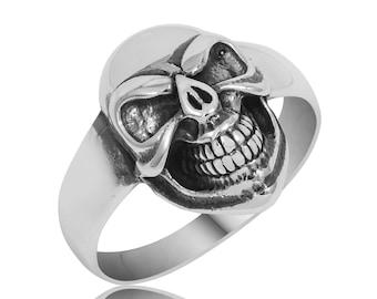 Skull Ring, Mens Skull Ring, Sterling Silver Mens Skull Ring, 925 Sterling Silver Skull Mens Ring