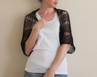 Loose Mohair Knit Shrug / Black Shrug / Hand Knit Summer Shrug / Women's Shrug /Wedding Shrug/ Ready To Ship