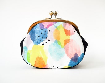 Colorful Minimalistic Large Coin Purse, Kiss Lock Clutch Purse, Change Purse, Watercolor Canvas Fabric, Metal Frame Purse, Organic Cloud9