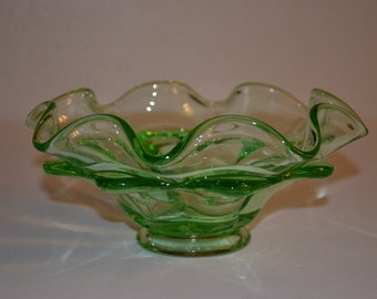 Vintage Green Unique Double Ruffled Dish