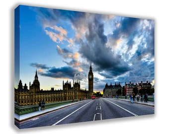 LONDON SKYLINE HOUSES Of Parliament Big Ben Westminster Palace Canvas Wall Art