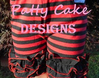 Children's girls kids - icing ruffle shorts - size 3 / 4  - red and black Minnie Disney