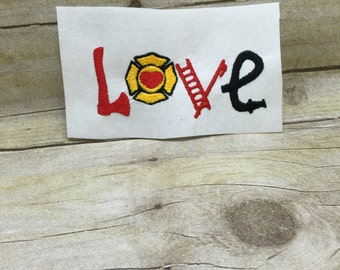 Firefighter Embroidery Design, Love Fireman Embroidery design