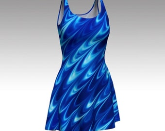 Sapphire Dress, Blue Dress, Swirl Dress, Blue Swirl Dress, Abstract Dress, Flare Dress, Skater Dress, Bodycon Dress, Fitted Dress, Marble