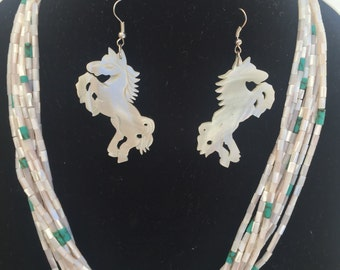 Mother of Pearl Necklace with Earrings