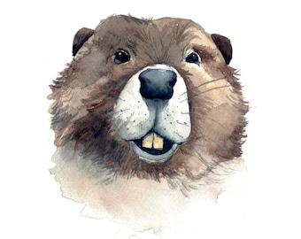 Professor Beaver Watercolor Print