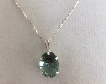Green Amethyst Necklace, Sterling Silver Necklace, Sterling Silver Amethyst Necklace