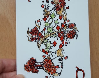 Queen of Diamonds - A6 postcard print
