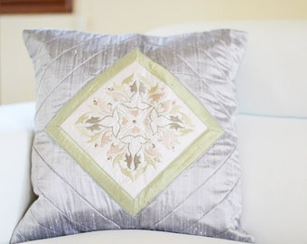 Embroidered Pillow Cover | Decorative Accent Pillow | 16x16 Pillow Cover