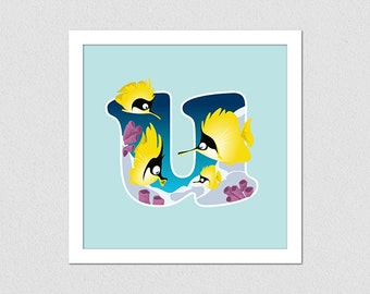 Animal Alphabet Letter U Fish