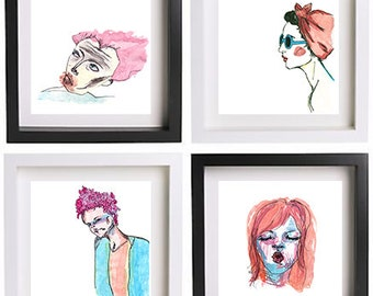 Fantastic portraits collection set 4 prints, wall art, painting,