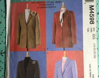 Misses' Lined Jackets, McCall's 4588 Sewing Pattern,Sizes 18-24